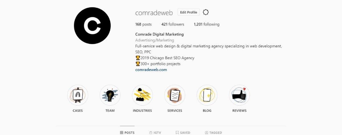 comrade digital marketing instagram