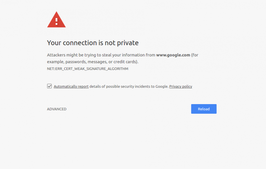 your connection isn't private