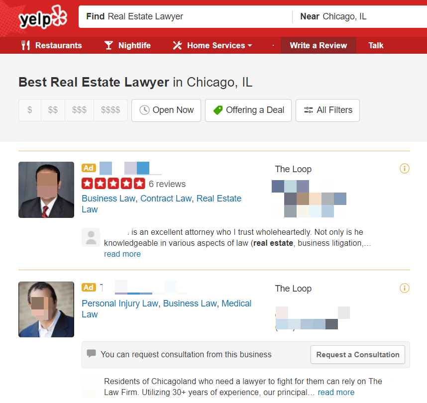 Yelp Attorney Business Directory