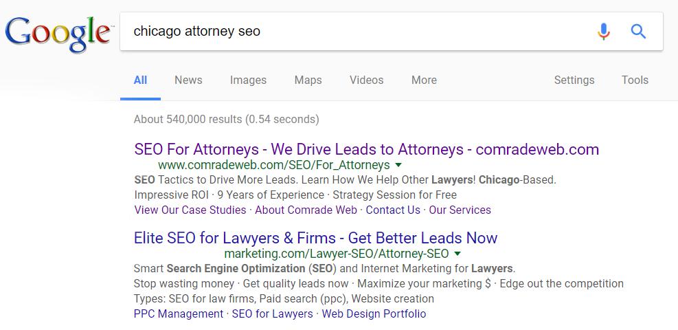 chicago attorney seo keyword
