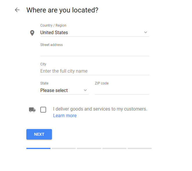 Google My Business Where are you located