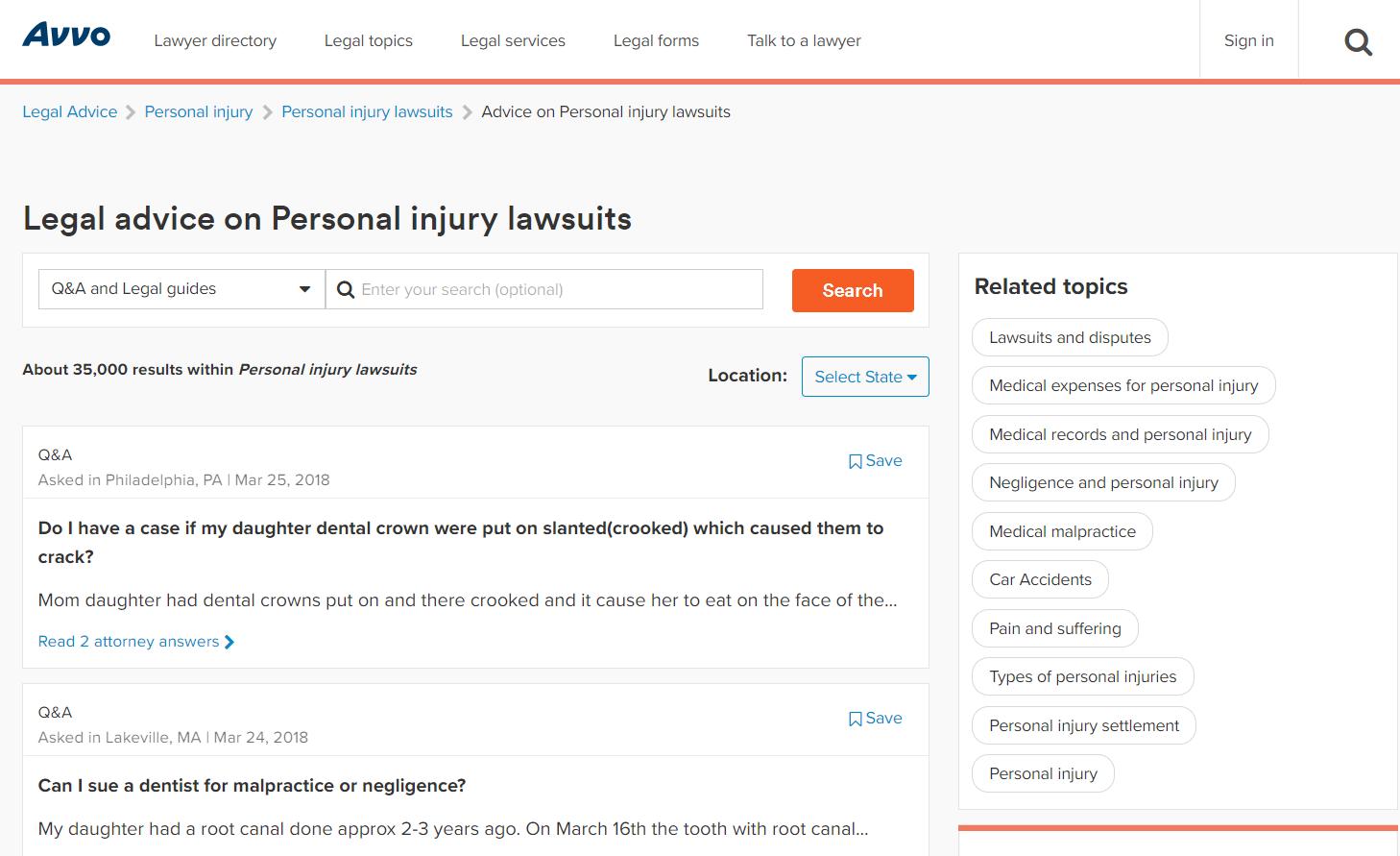 Avvo Forum Personal Injury lawsuits