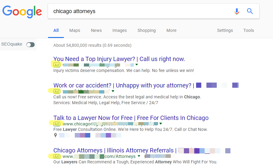 Paid Search for chicago attorneys