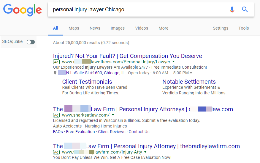 Google PPC personal injury lawyer Chicago