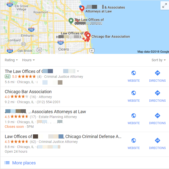 Google local ads and organic search