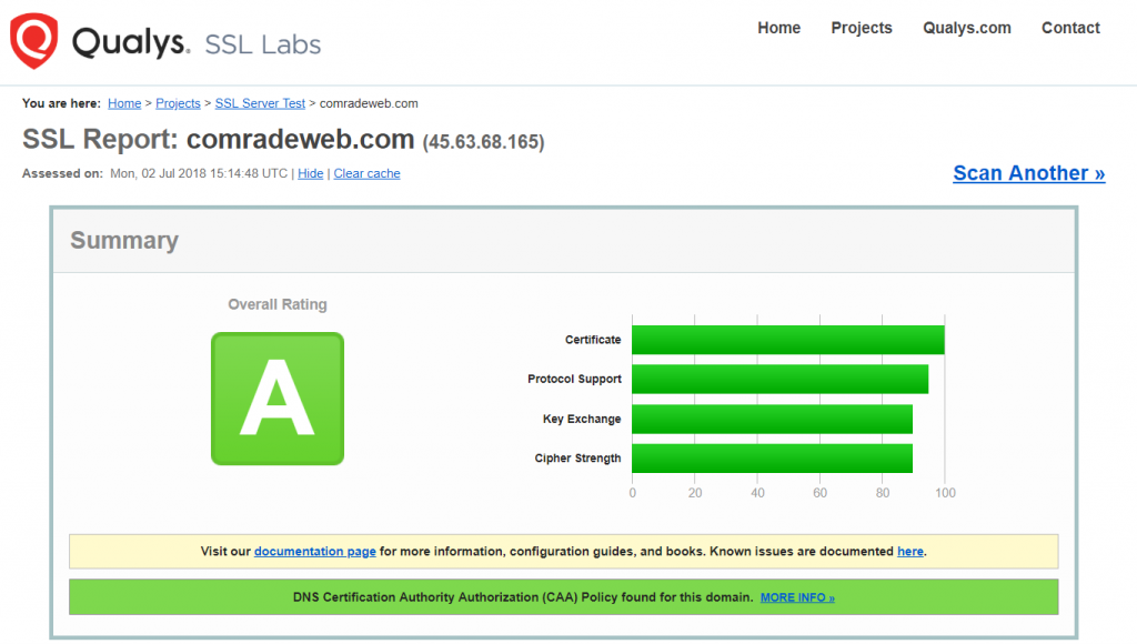 SSL Labs SSL Certificate Report Comrade Web Rating A