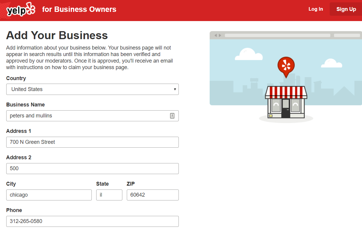 Yelp Business set up