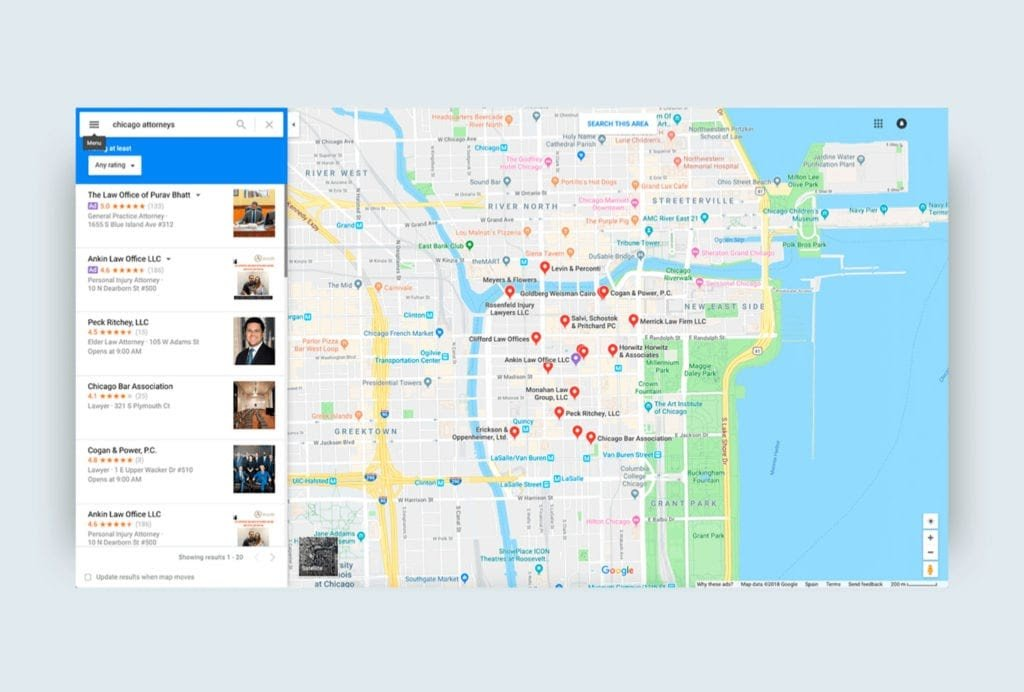 Website on Google maps