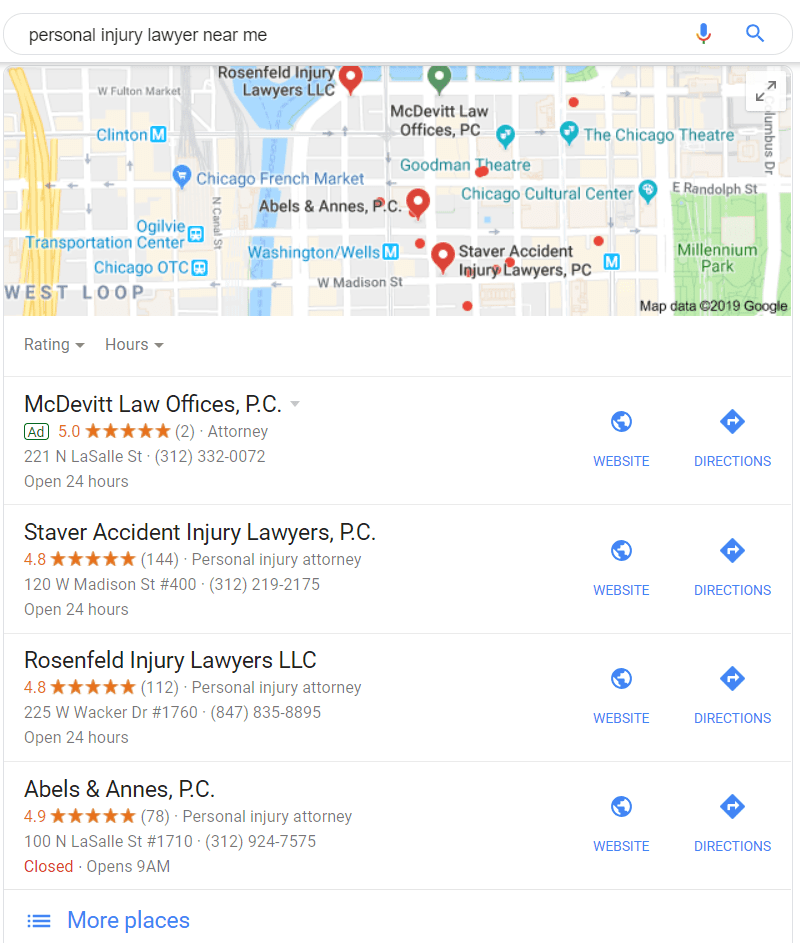 Local search results for personal injury lawyer