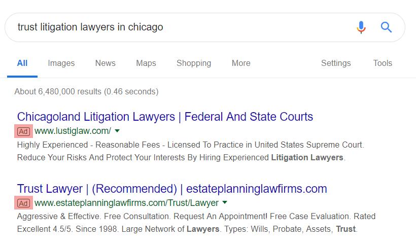 PPC for Trust & Estate litigation attorneys