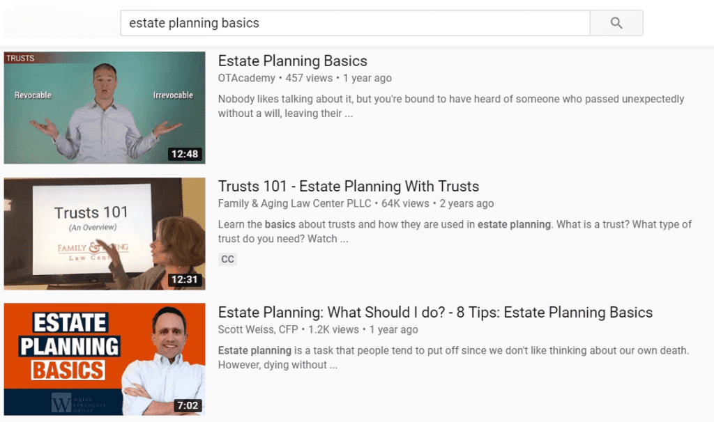 YouTube marketing for estate litigation lawyers