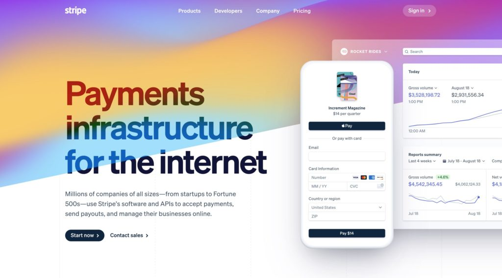 Stripe Online payment processing