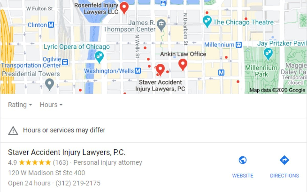 chicago personal injury lawyers local search results