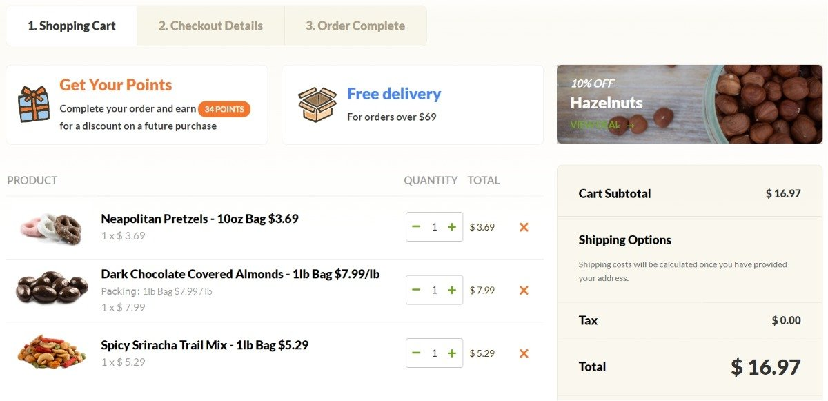 online shopping cart with added items