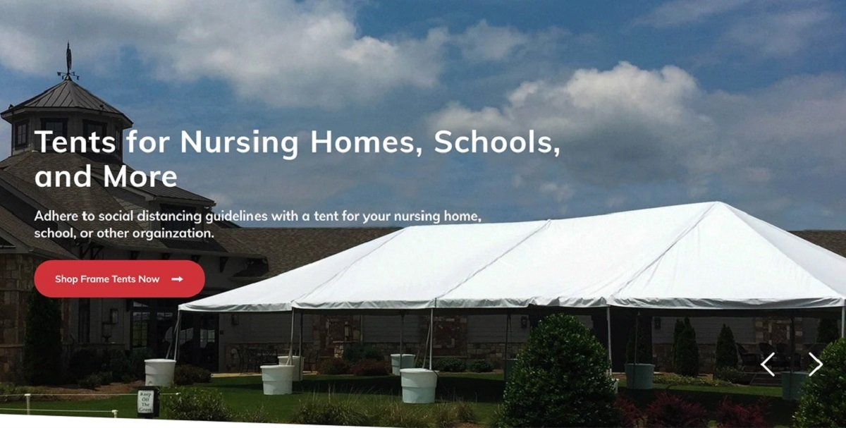 tent business web design example