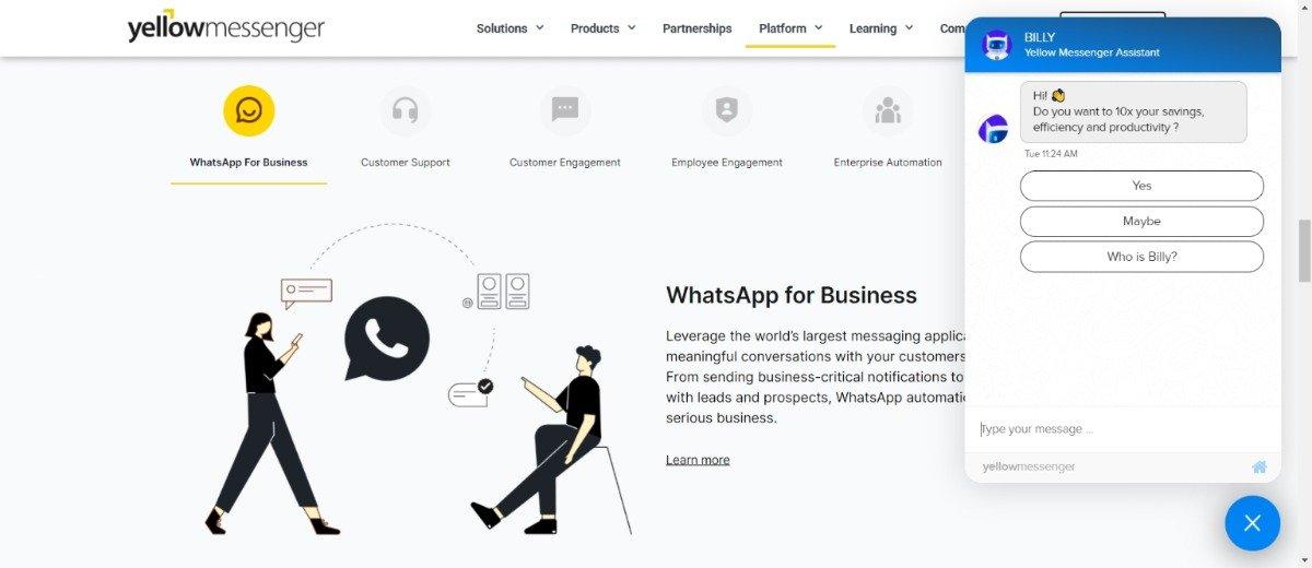 yellow messenger chatbot