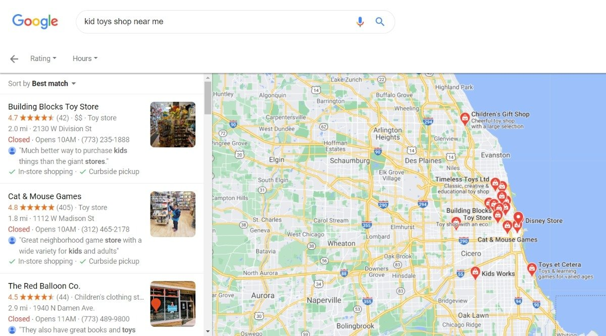 google chicago local search