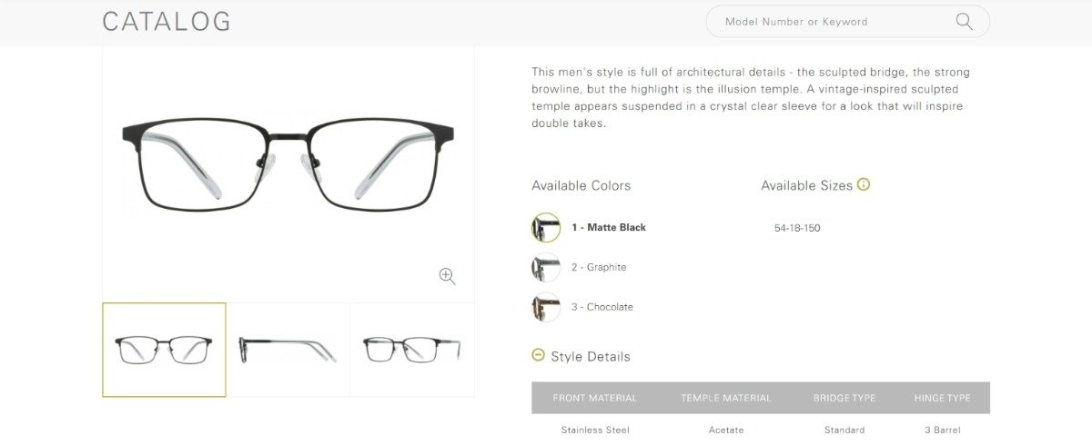 a glasses product page with great UX