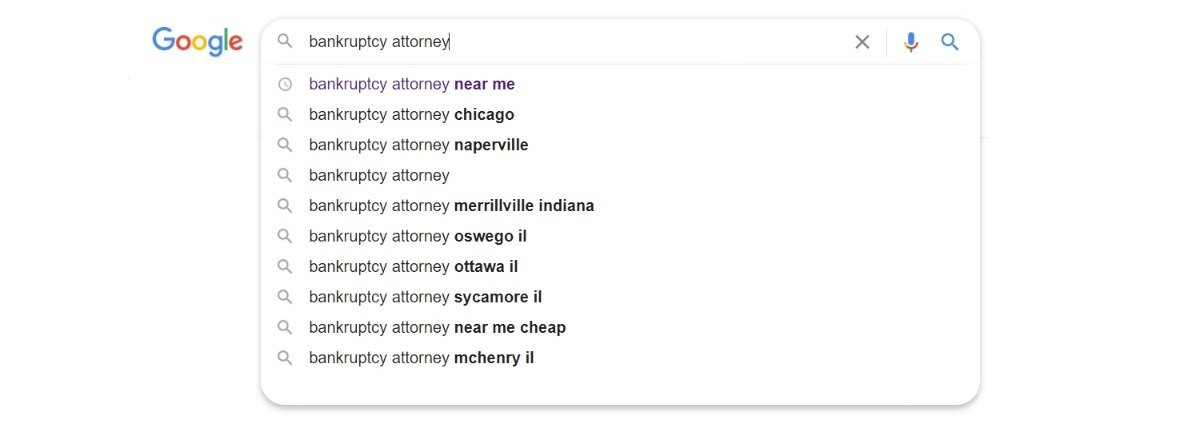 bankruptcy attorney google search bar suggestions