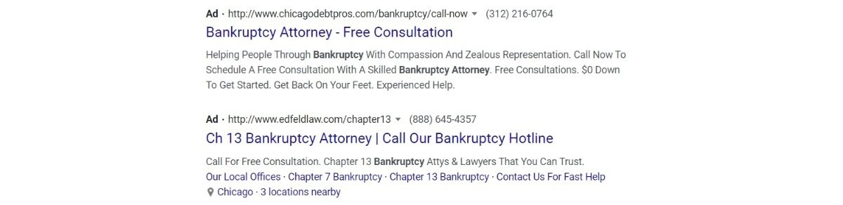 bankruptcy attorney pay per clicks ads