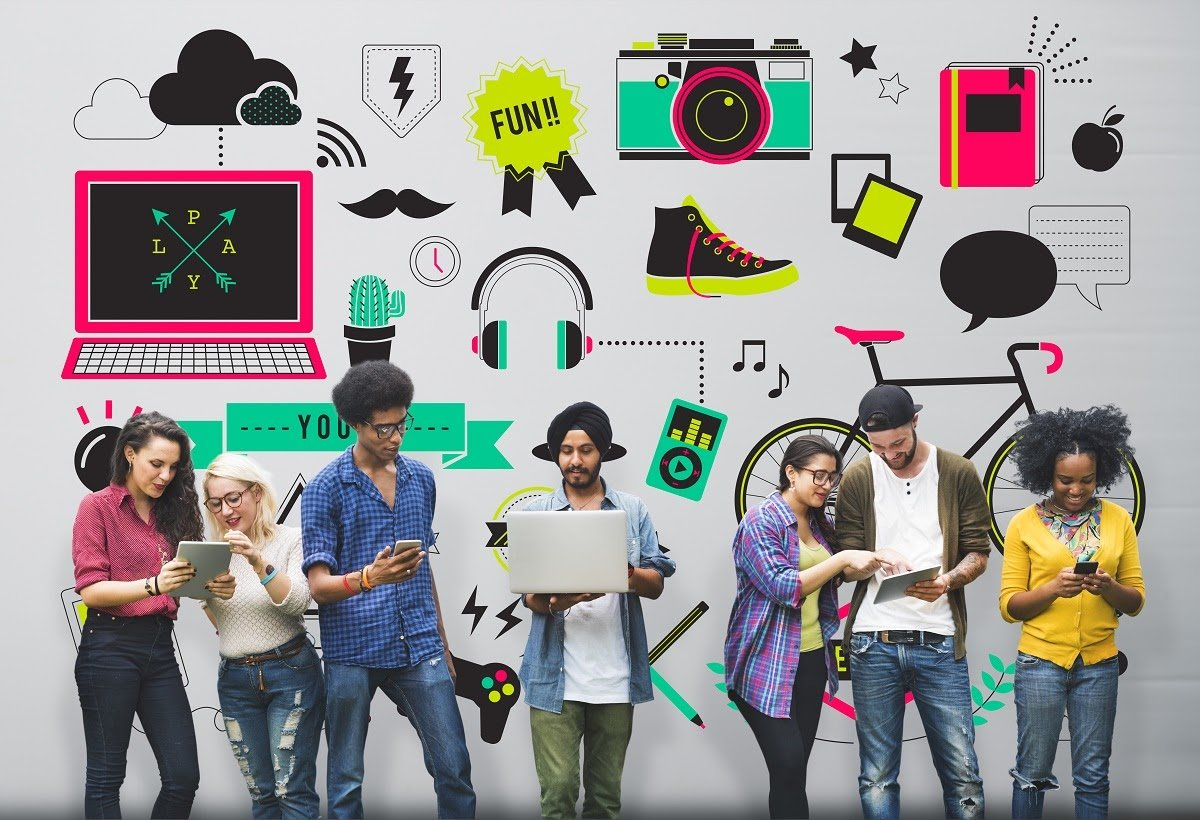generation z youth engaged in their smartphones