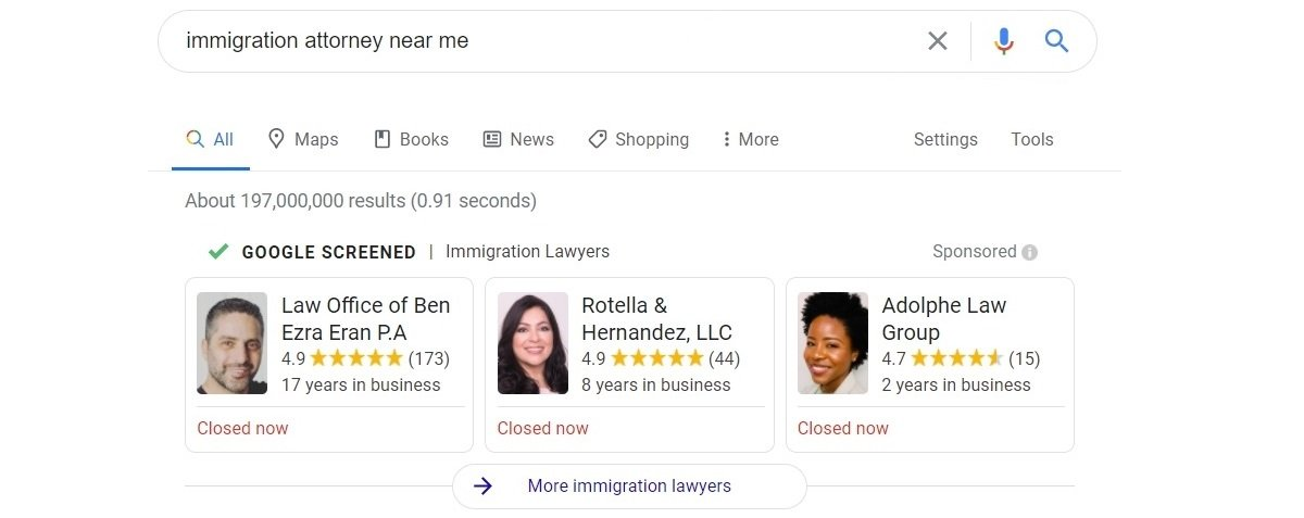 immigration attorney google search results