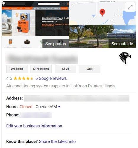 hvac company google my business profile