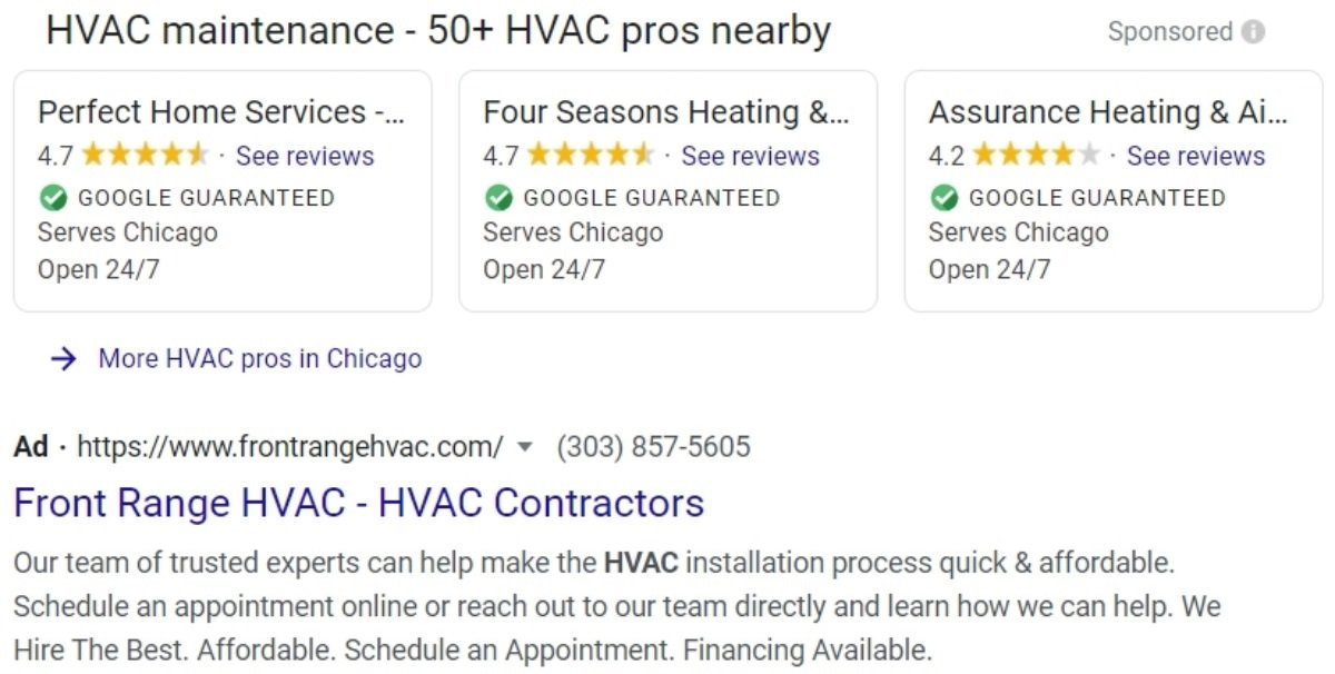hvac company pay-per-click ads