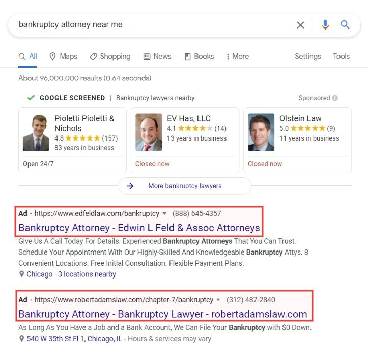 bankruptcy attorney near me ppc ads
