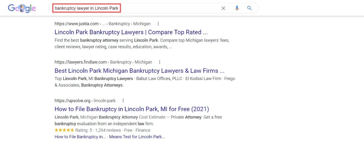 bankruptcy attorney in lincoln park google search results