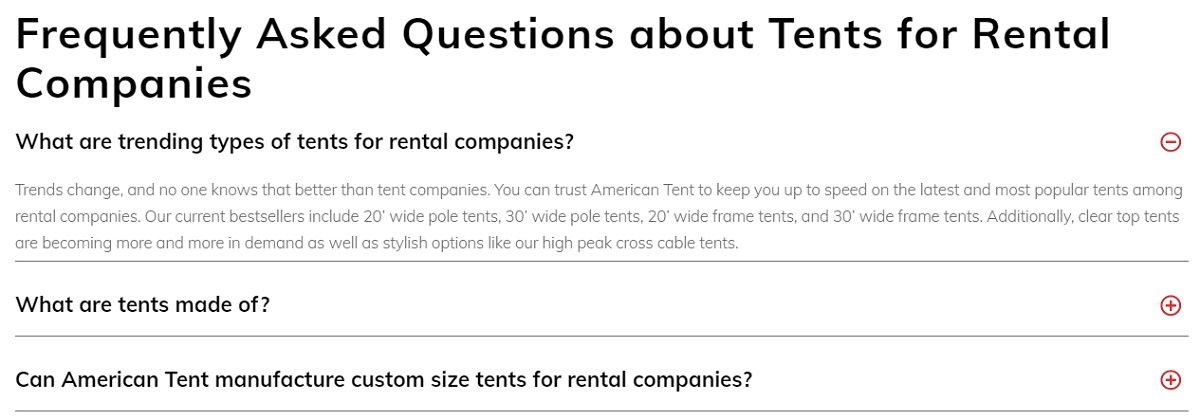 faq section on a tent ecommerce store