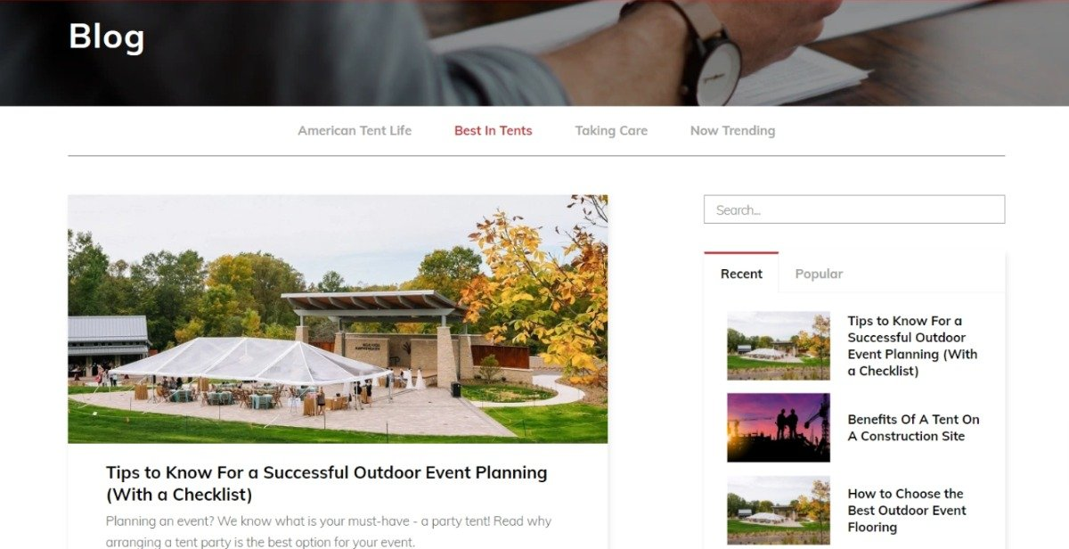 blog about tents to increase ecommerce link building